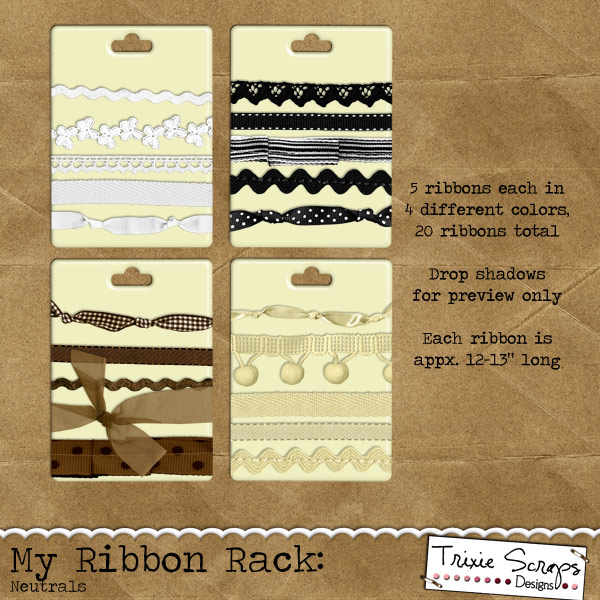 My Ribbon Rack: Neutrals Digital Scrapbooking Element Pack