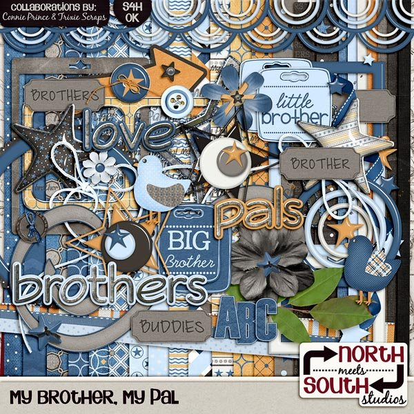 My Brother, My Pal Digital Scrapbooking Kit Siblings Family Kids