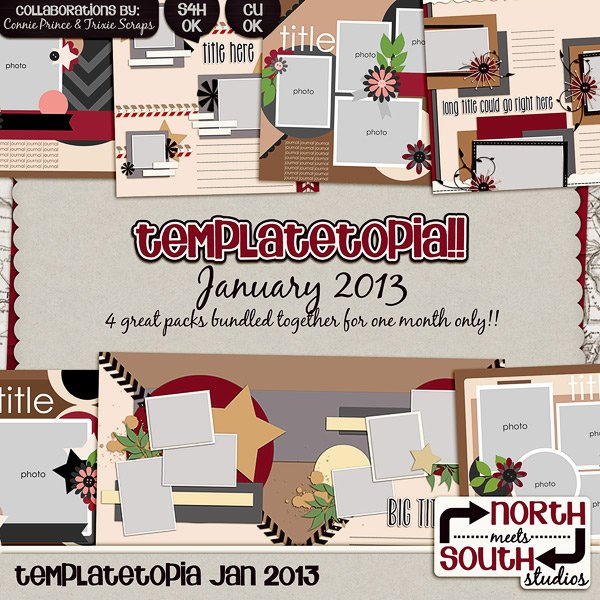 January 2013 Templatetopia Digital Scrapbooking Templates