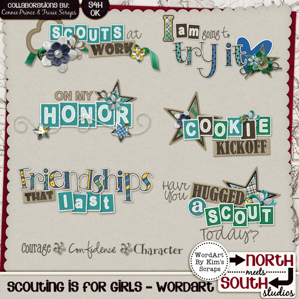 Scouting is for Girls Digital Scrapbooking Wordart