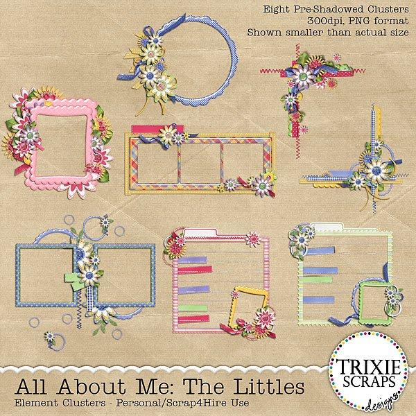 All About Me: The Littles Digital Scrapbooking Clusters