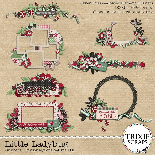 Little Ladybug Digital Scrapbooking Clusters