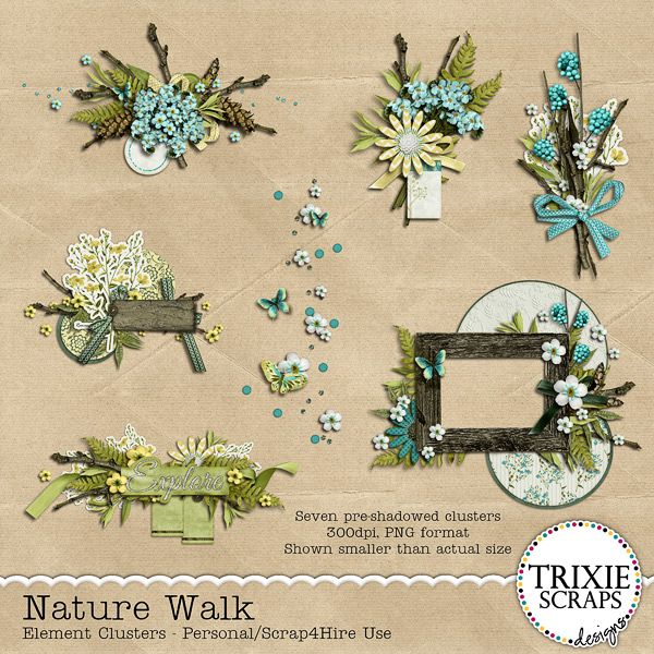 Nature Walk Digital Scrapbooking Clusters