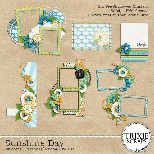 Sunshine Day Digital Scrapbooking Clusters Summer Pool