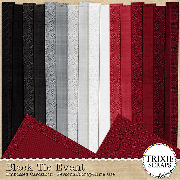 Black Tie Event Digital Scrapbooking Cardstock Wedding Formal