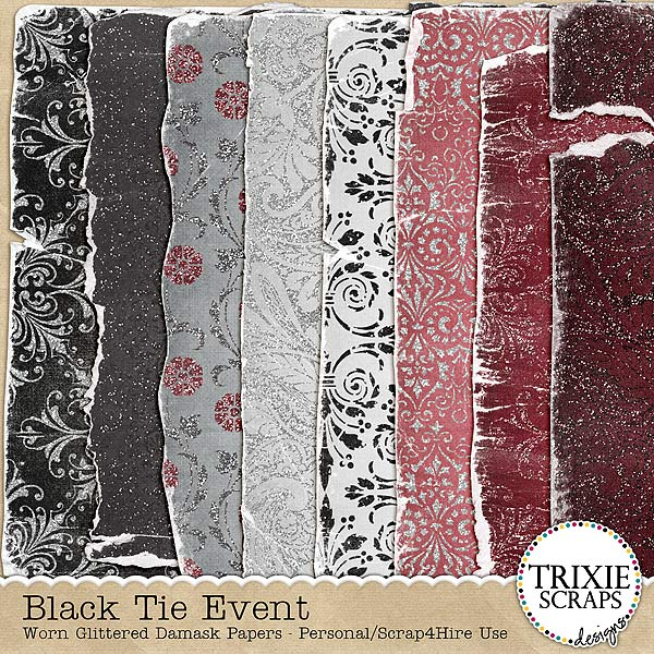 Black Tie Event Digital Scrapbooking Worn Damask Paper Pack Wedding Formal