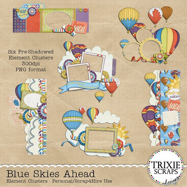 Blue Skies Ahead Digital Scrapbooking Clusters Hot Air Balloons
