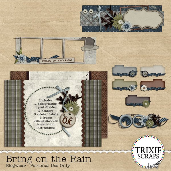Bring on the Rain Blogwear Blogger Template Theme