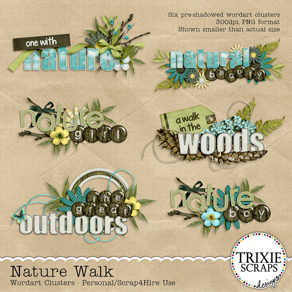 Nature Walk Digital Scrapbooking Wordart