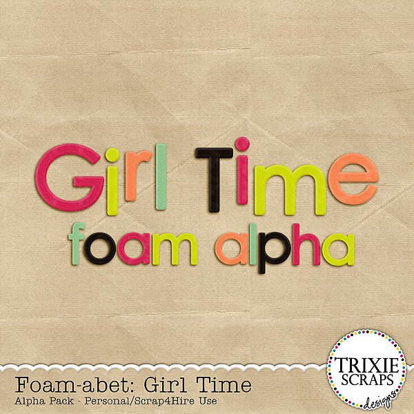 Foam-abet: Girl Time Digital Scrapbooking Alpha Kids Sports