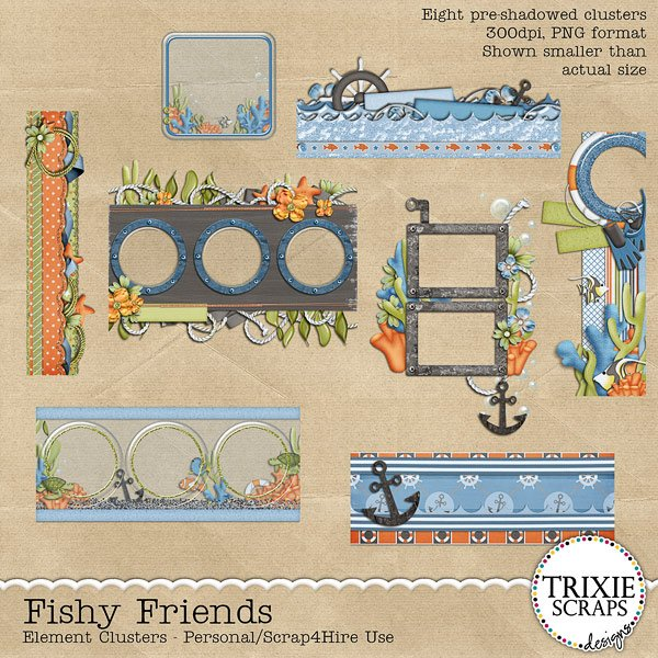 Fishy Friends Digital Scrapbooking Element Clusters Disney Vacation