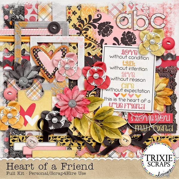 Heart of a Friend Digital Scrapbooking Full Kit