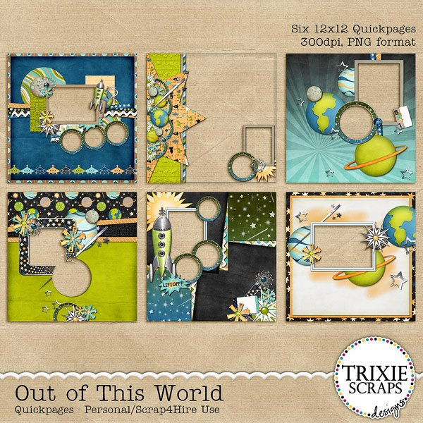 Out of This World Digital Scrapbooking Quickpages Disney
