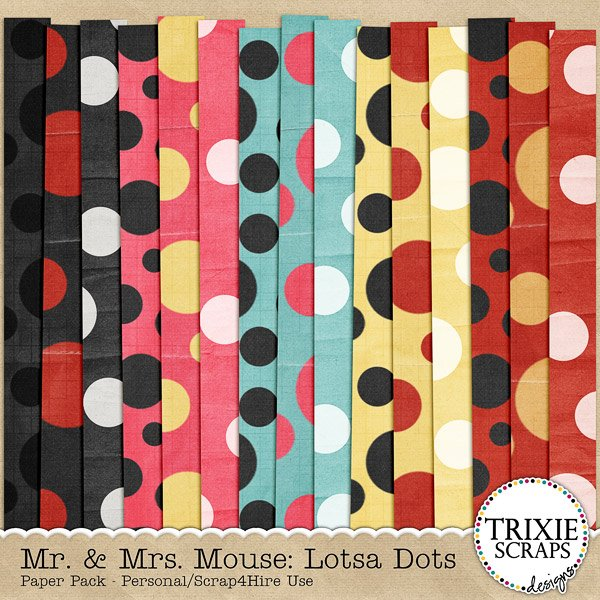 Mr. & Mrs. Mouse Digital Scrapbooking Lotsa Dots Paper Pack Disney