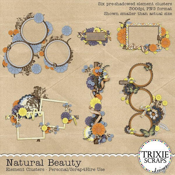 Natural Beauty Digital Scrapbooking Clusters