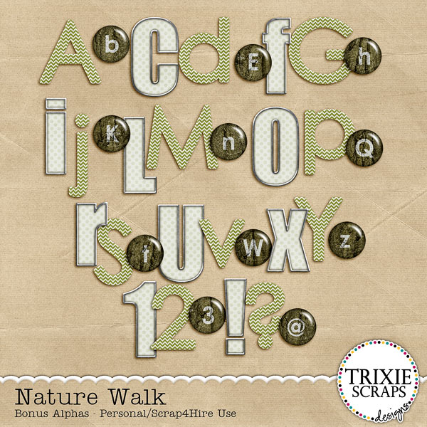 Nature Walk Digital Scrapbooking Bonus Alphas