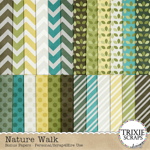 Nature Walk Digital Scrapbooking Bonus Papers
