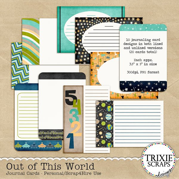 Out of This World Digital Scrapbooking Journal Cards Disney