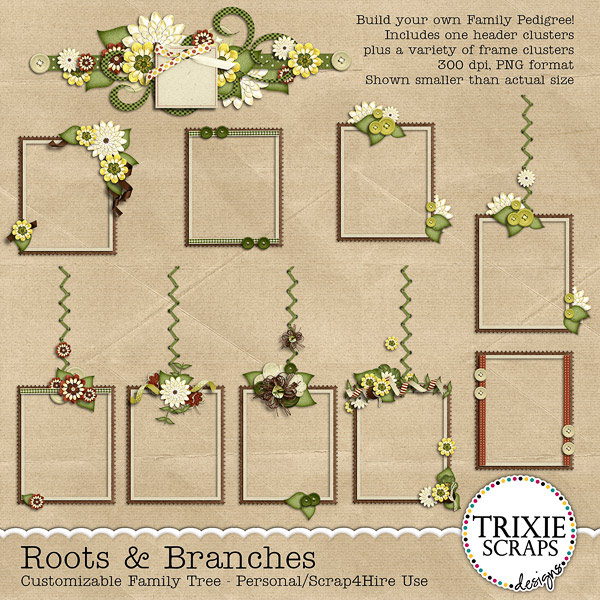 Roots & Branches Digital Scrapbooking Customizable Family Tree