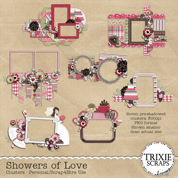 Showers of Love Digital Scrapbooking Clusters