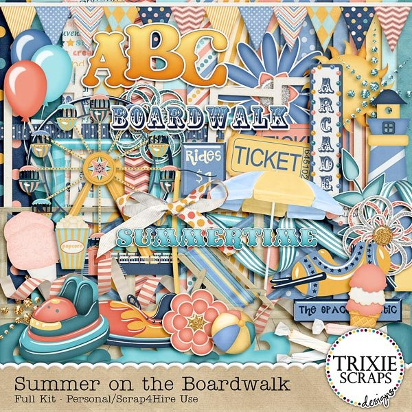 Summer on the Boardwalk Digital Scrapbooking Full Kit