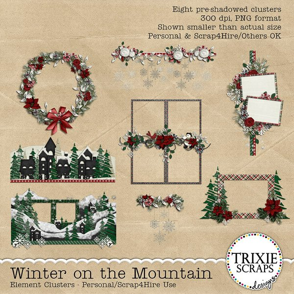 Winter on the Mountain Digital Scrapbooking Element Clusters