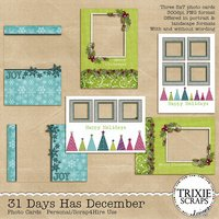 31 Days Has December Digital Scrapbooking Photo Cards