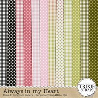 Always in my Heart Digital Scrapbooking Dots & Gingham Papers