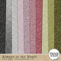 Always in my Heart Digital Scrapbooking Glitter Papers