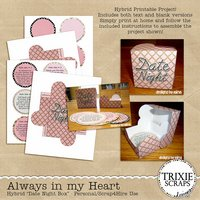 Always in my Heart Digital Scrapbooking Hybrid Printable Date Night Box