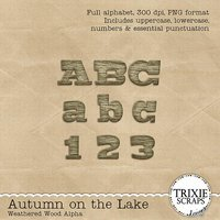 Autumn on the Lake Worn Wooden Digital Scrapbooking Alpha