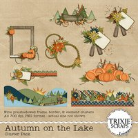 Autumn on the Lake Digital Scrapbooking Element Clusters