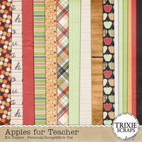 Apples for Teacher Digital Scrapbooking Kit Back to School Elementary