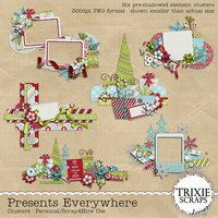 Presents Everywhere Digital Scrapbooking Clusters