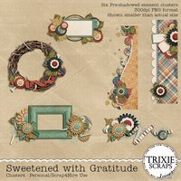 Sweetened with Gratitude Digital Scrapbooking Clusters