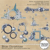 Blue Christmas Digital Scrapbooking Clusters