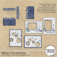 Blue Christmas Digital Scrapbooking Photo Cards