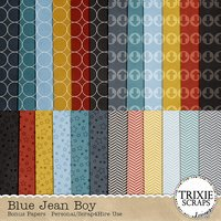 Blue Jean Boy Digital Scrapbooking Bonus Papers