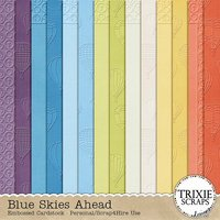 Blue Skies Ahead Digital Scrapbooking Cardstock Hot Air Balloons