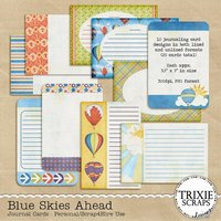 Blue Skies Ahead Digital Scrapbooking Journal Cards Hot Air Balloons