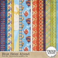 Blue Skies Ahead Digital Scrapbooking Kit Hot Air Balloons