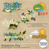 Sunshine Day Digital Scrapbooking Wordart Summer Pool