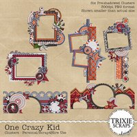 One Crazy Kid Digital Scrapbooking Clusters