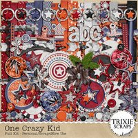 One Crazy Kid Digital Scrapbooking Full Kit Children Play