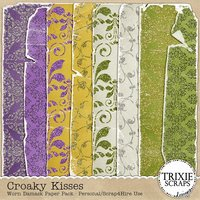 Croaky Kisses Digital Scrapbooking Worn Glittered Damask Papers Disney