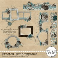 Frosted Windowpanes Digital Scrapbooking Clusters