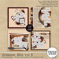 Greatest Hits 5 Digital Scrapbooking Templates PSD/TIF/PAGE