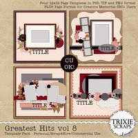 Greatest Hits 8 Digital Scrapbooking Templates PSD/TIF/PAGE