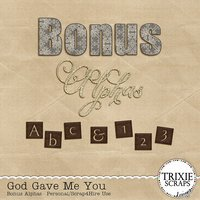God Gave Me You Digital Scrapbooking Bonus Alphas