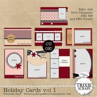 Holiday Cards vol 1 Digital Scrapbooking Templates PSD/TIF